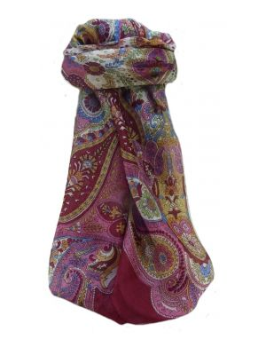 Mulberry Silk Traditional Square Scarf Zoya Maroon by Pashmina & Silk