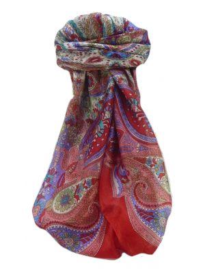 Mulberry Silk Traditional Square Scarf Zoya Scarlet by Pashmina & Silk