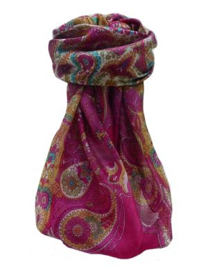 Mulberry Silk Traditional Square Scarf Zoya Pink by Pashmina & Silk