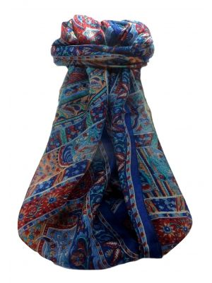 Mulberry Silk Traditional Long Scarf  Ajay  Blue by Pashmina & Silk