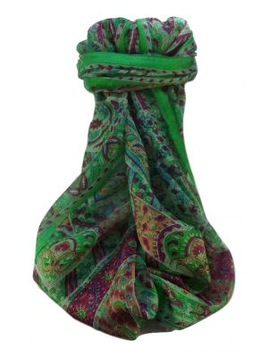 Mulberry Silk Traditional Long Scarf  Ajay  Green by Pashmina & Silk