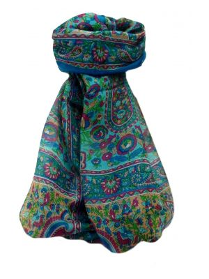Mulberry Silk Traditional Long Scarf  Dil Aqua by Pashmina & Silk