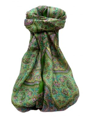 Mulberry Silk Traditional Long Scarf  Ishara Sage by Pashmina & Silk