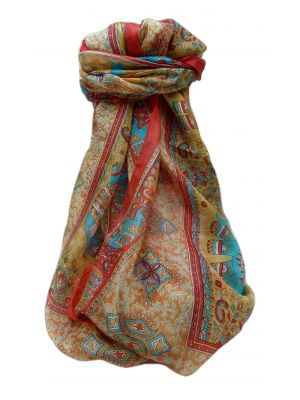 Mulberry Silk Traditional Long Scarf  Jaan Flame by Pashmina & Silk