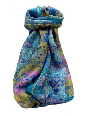 Mulberry Silk Traditional Long Scarf  Jaan Aqua by Pashmina & Silk