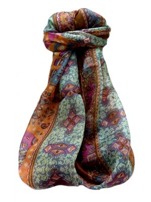 Mulberry Silk Traditional Long Scarf  Jaan Chestnut by Pashmina & Silk