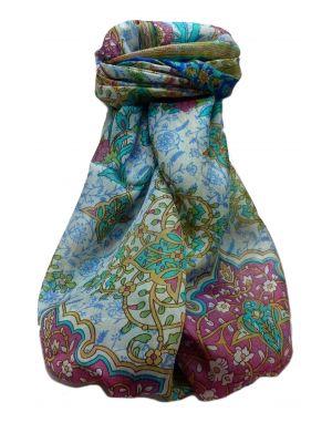 Mulberry Silk Traditional Long Scarf  Kareena Blue by Pashmina & Silk