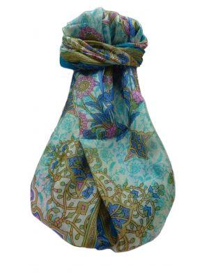 Mulberry Silk Traditional Long Scarf  Kareena Aqua by Pashmina & Silk