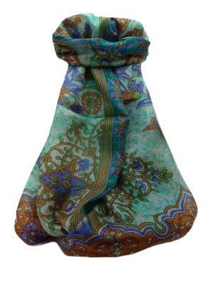 Mulberry Silk Traditional Long Scarf  Kareena Emerald by Pashmina & Silk