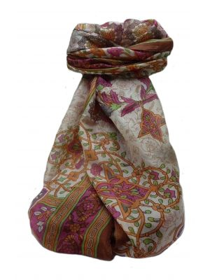 Mulberry Silk Traditional Long Scarf  Kareena Chestnut by Pashmina & Silk