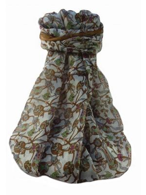 Mulberry Silk Traditional Long Scarf  Karwan Chestnut by Pashmina & Silk