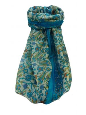 Mulberry Silk Traditional Long Scarf  Karwan Light Blue by Pashmina & Silk