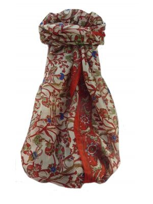 Mulberry Silk Traditional Long Scarf  Karwan Scarlet by Pashmina & Silk