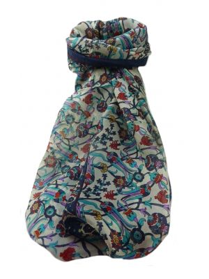 Mulberry Silk Traditional Long Scarf  Karwan Navy by Pashmina & Silk