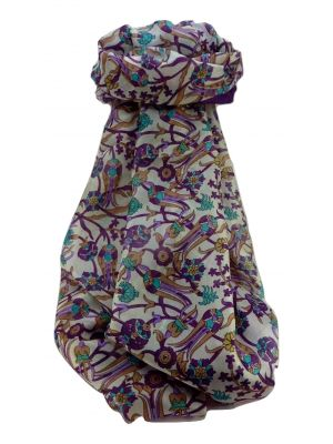 Mulberry Silk Traditional Long Scarf  Karwan Violet by Pashmina & Silk