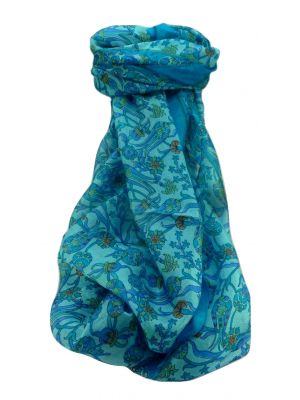 Mulberry Silk Traditional Long Scarf  Karwan Aqua by Pashmina & Silk