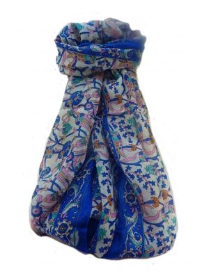 Mulberry Silk Traditional Long Scarf  Karwan French Blue by Pashmina & Silk