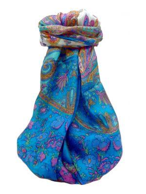 Mulberry Silk Traditional Long Scarf  Khattar Aqua by Pashmina & Silk