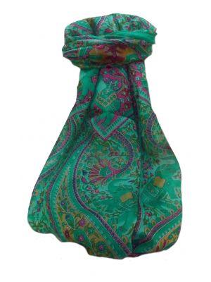 Mulberry Silk Traditional Long Scarf  Kriti Emerald by Pashmina & Silk