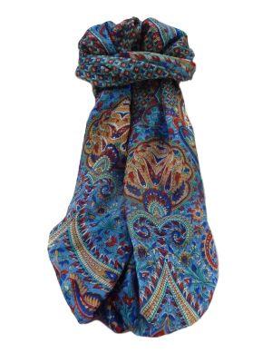 Mulberry Silk Traditional Long Scarf  Mallik Blue by Pashmina & Silk