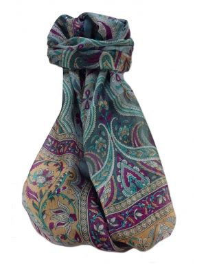 Mulberry Silk Traditional Long Scarf  Meri Slate by Pashmina & Silk