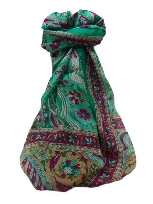 Mulberry Silk Traditional Long Scarf  Meri Emerald & Blue by Pashmina & Silk