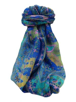 Mulberry Silk Traditional Long Scarf  Pyar Blue by Pashmina & Silk