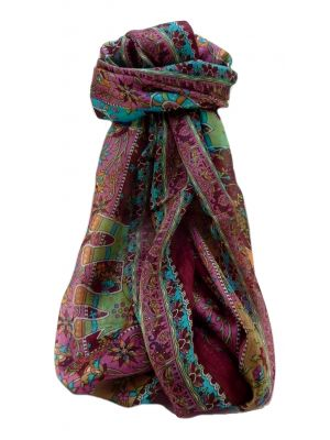 Mulberry Silk Traditional Long Scarf  Pyar Maroon by Pashmina & Silk