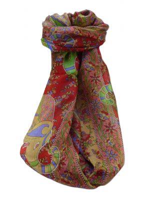 Mulberry Silk Traditional Long Scarf  Pyar Scarlet by Pashmina & Silk