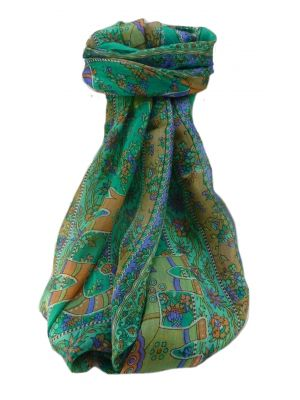 Mulberry Silk Traditional Long Scarf  Pyar Emerald by Pashmina & Silk