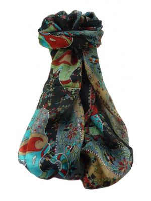 Mulberry Silk Traditional Long Scarf  Pyar Black by Pashmina & Silk