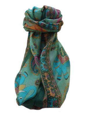 Mulberry Silk Traditional Long Scarf  Qamar Sage by Pashmina & Silk