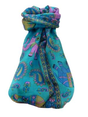 Mulberry Silk Traditional Long Scarf  Qamar Light Blue by Pashmina & Silk