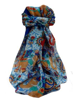 Mulberry Silk Traditional Long Scarf  Qamar Blue by Pashmina & Silk