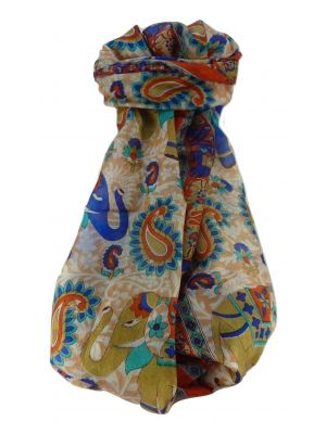 Mulberry Silk Traditional Long Scarf  Qamar Marigold by Pashmina & Silk