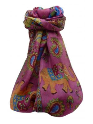 Mulberry Silk Traditional Long Scarf  Qamar Pink by Pashmina & Silk