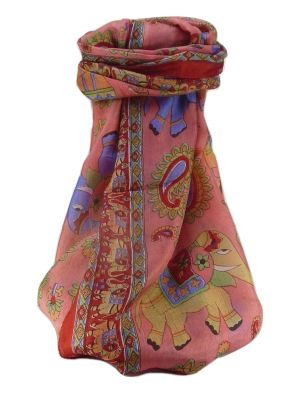 Mulberry Silk Traditional Long Scarf  Qamar Scarlet by Pashmina & Silk