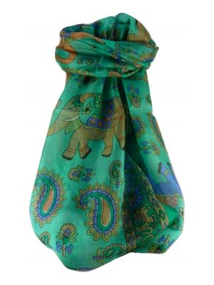 Mulberry Silk Traditional Long Scarf  Qamar Emerald by Pashmina & Silk