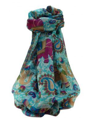 Mulberry Silk Traditional Long Scarf  Qamar Aqua by Pashmina & Silk