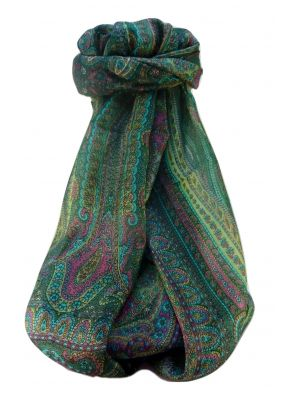 Mulberry Silk Traditional Long Scarf  Ranveer Sage by Pashmina & Silk