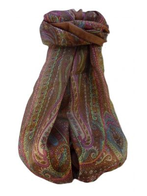 Mulberry Silk Traditional Long Scarf  Ranveer Chestnut by Pashmina & Silk