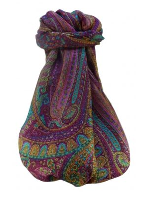 Mulberry Silk Traditional Long Scarf  Ranveer Violet by Pashmina & Silk