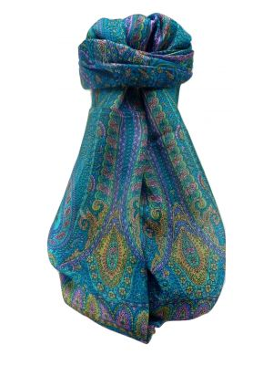 Mulberry Silk Traditional Long Scarf  Ranveer Aqua by Pashmina & Silk