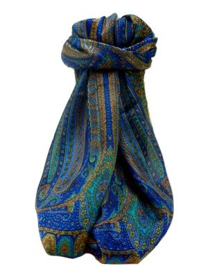 Mulberry Silk Traditional Long Scarf  Ranveer Blue by Pashmina & Silk