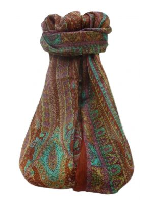 Mulberry Silk Traditional Long Scarf  Ranveer Copper by Pashmina & Silk
