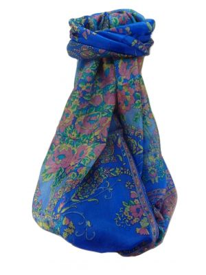 Mulberry Silk Traditional Long Scarf  Sabita Blue by Pashmina & Silk