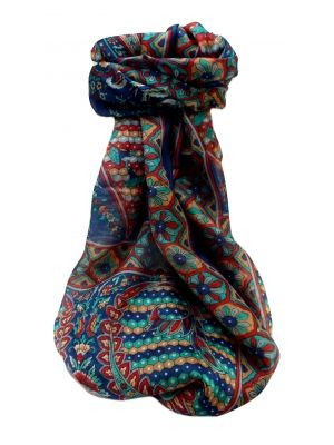 Mulberry Silk Traditional Long Scarf  Shakila Navy by Pashmina & Silk