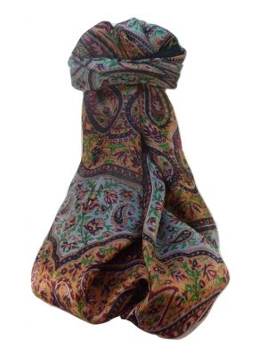 Mulberry Silk Traditional Long Scarf  Shivaji Black by Pashmina & Silk