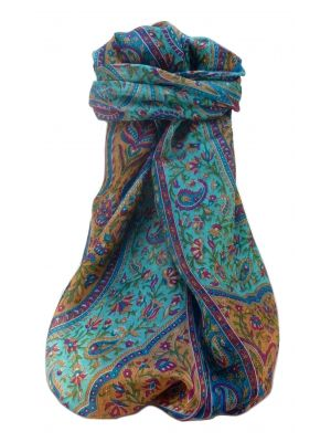 Mulberry Silk Traditional Long Scarf  Shivaji Aqua by Pashmina & Silk