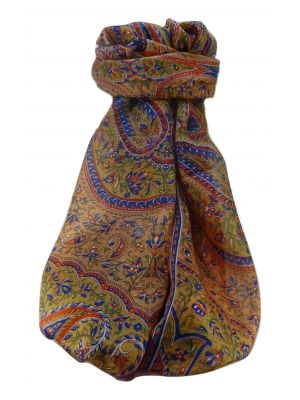 Mulberry Silk Traditional Long Scarf  Shivaji Marigold by Pashmina & Silk